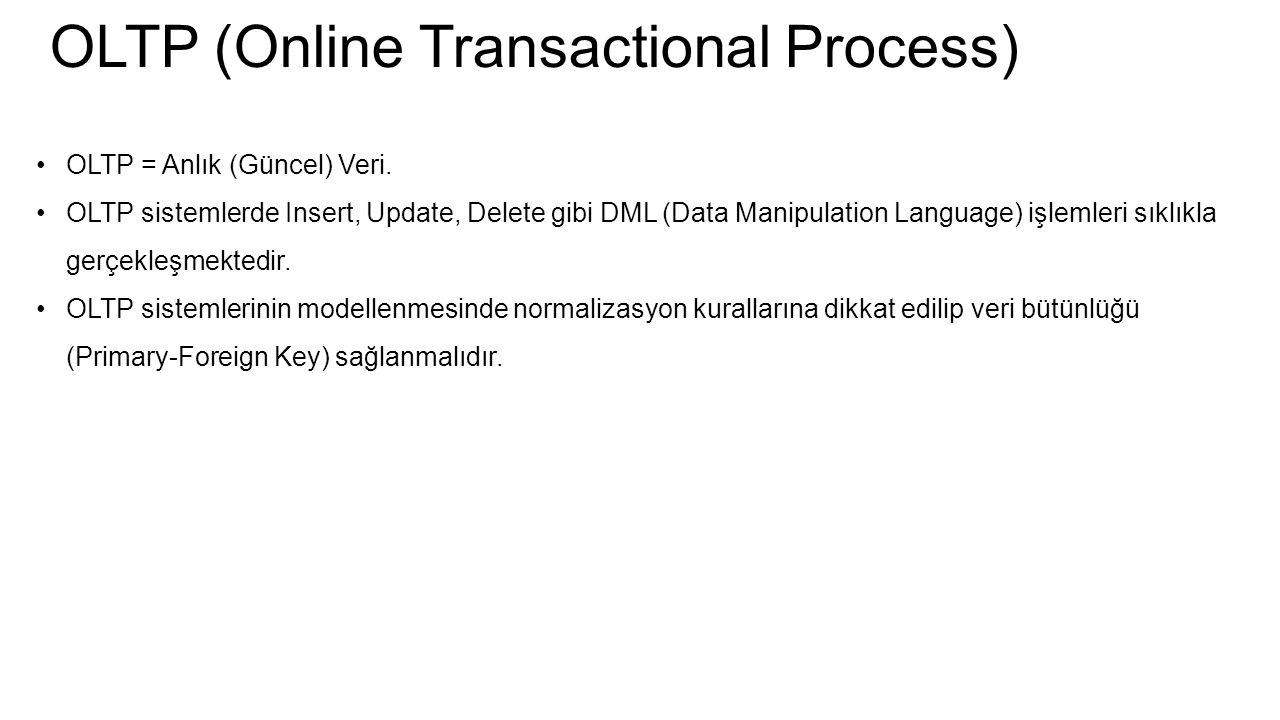 OLTP (Online Transactional Process) OLTP = Anlık (Güncel) Veri. OLTP sistemlerde Insert, Update, Delete gibi DML (Data Manipulation Language) işlemler