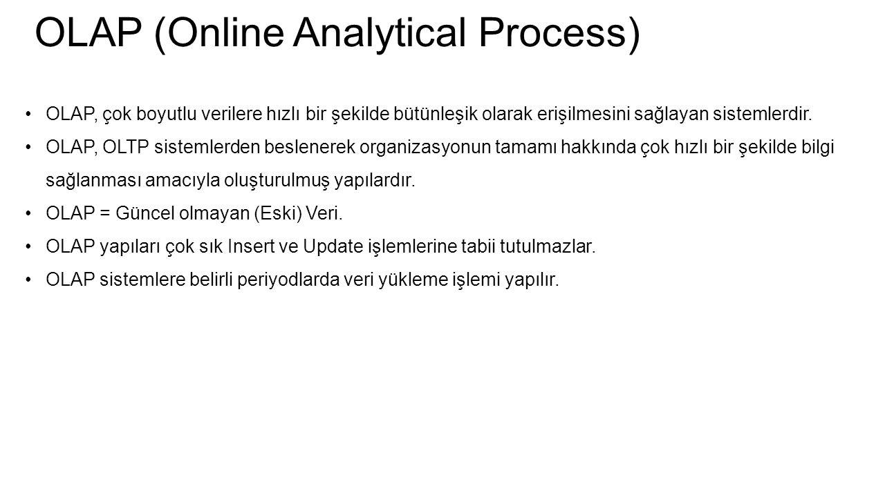 OLAP (Online Analytical Process) OLAP, çok boyutlu verilere hızlı bir şekilde bütünleşik olarak erişilmesini sağlayan sistemlerdir. OLAP, OLTP sisteml