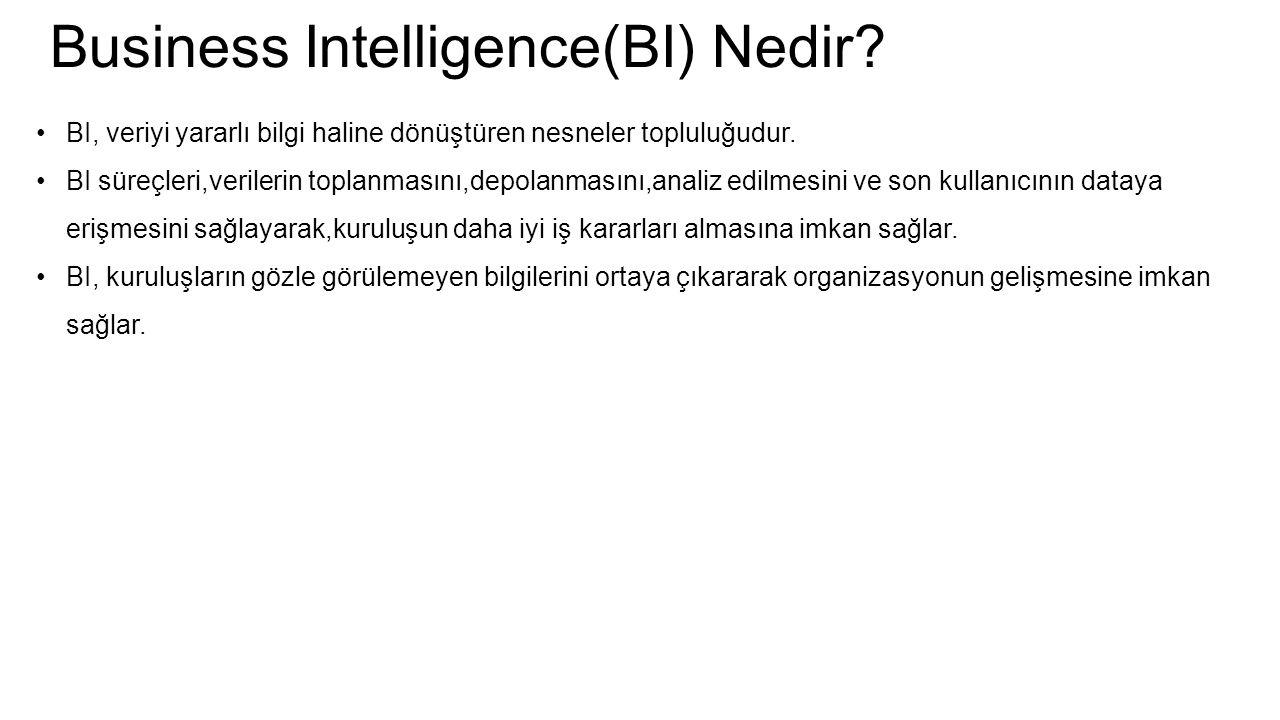Business Intelligence(BI) Nedir? BI, veriyi yararlı bilgi haline dönüştüren nesneler topluluğudur. BI süreçleri,verilerin toplanmasını,depolanmasını,a