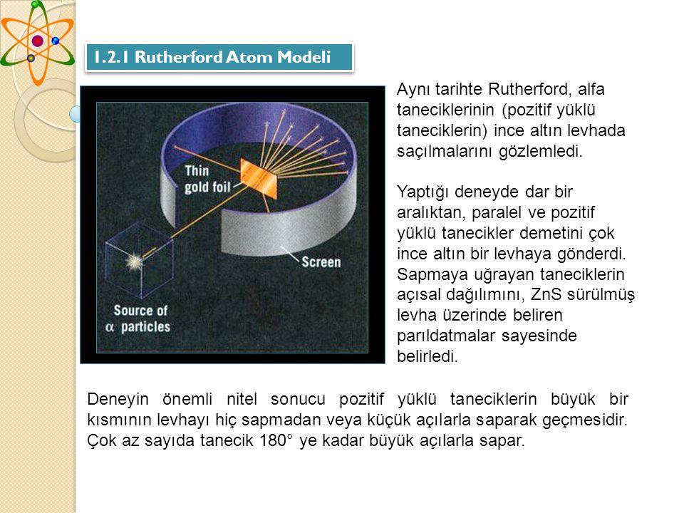 1.2.1 Rutherford Atom Modeli Aynı tarihte Rutherford, alfa taneciklerinin (pozitif yüklü taneciklerin) ince altın levhada saçılmalarını gözlemledi.