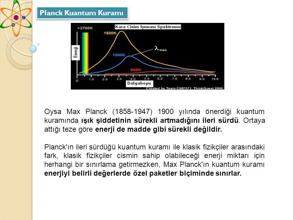 Oysa Max Planck (1858-1947) 1900 yılında önerdiği kuantum kuramında ışık şiddetinin sürekli artmadığını ileri sürdü.