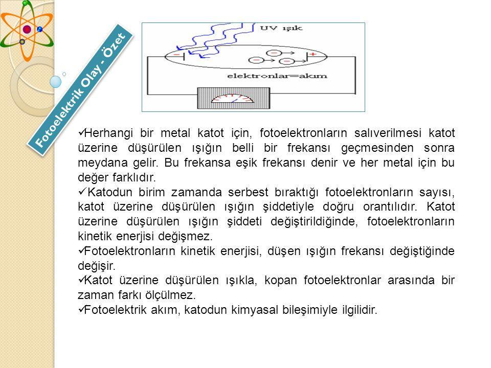 Fotoelektrik Olay - Özet Herhangi bir metal katot için, fotoelektronların salıverilmesi katot üzerine düşürülen ışığın belli bir frekansı geçmesinden sonra meydana gelir.
