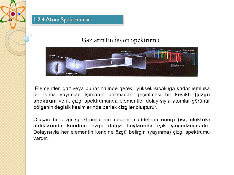 Elementler, gaz veya buhar hâlinde gerekli yüksek sıcaklığa kadar ısıtılırsa bir ışıma yayımlar.