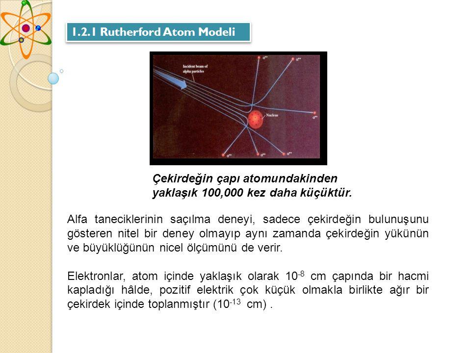 1.2.1 Rutherford Atom Modeli Alfa taneciklerinin saçılma deneyi, sadece çekirdeğin bulunuşunu gösteren nitel bir deney olmayıp aynı zamanda çekirdeğin yükünün ve büyüklüğünün nicel ölçümünü de verir.