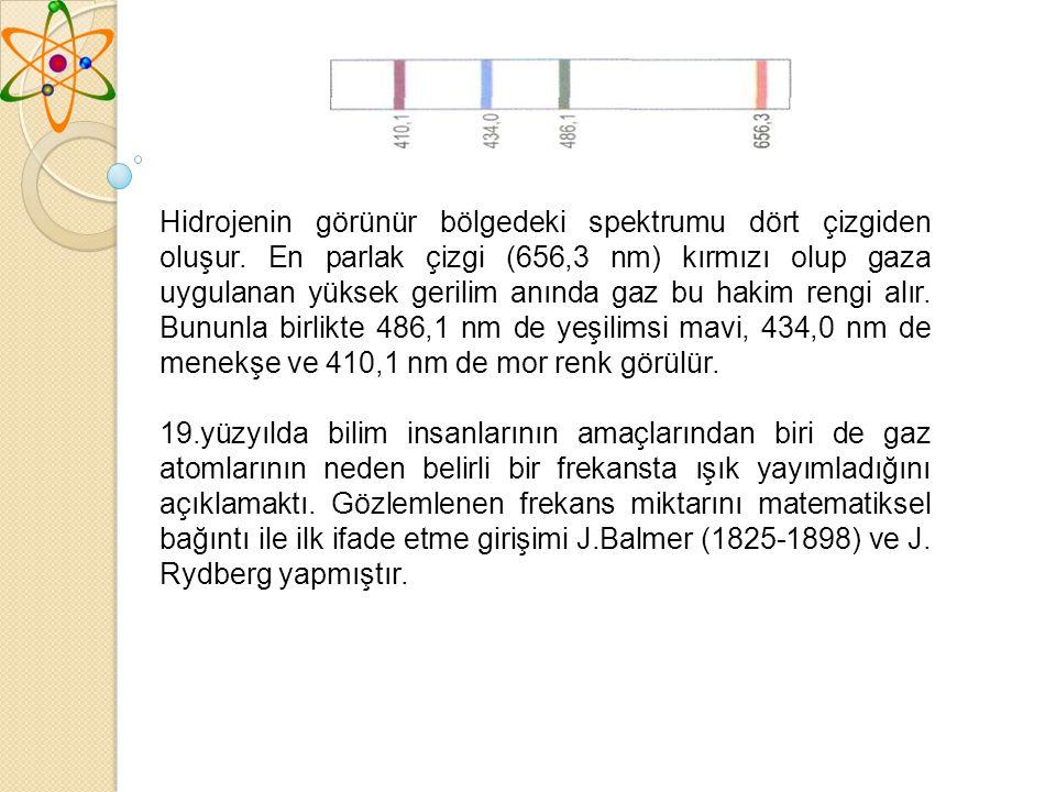Hidrojenin görünür bölgedeki spektrumu dört çizgiden oluşur.