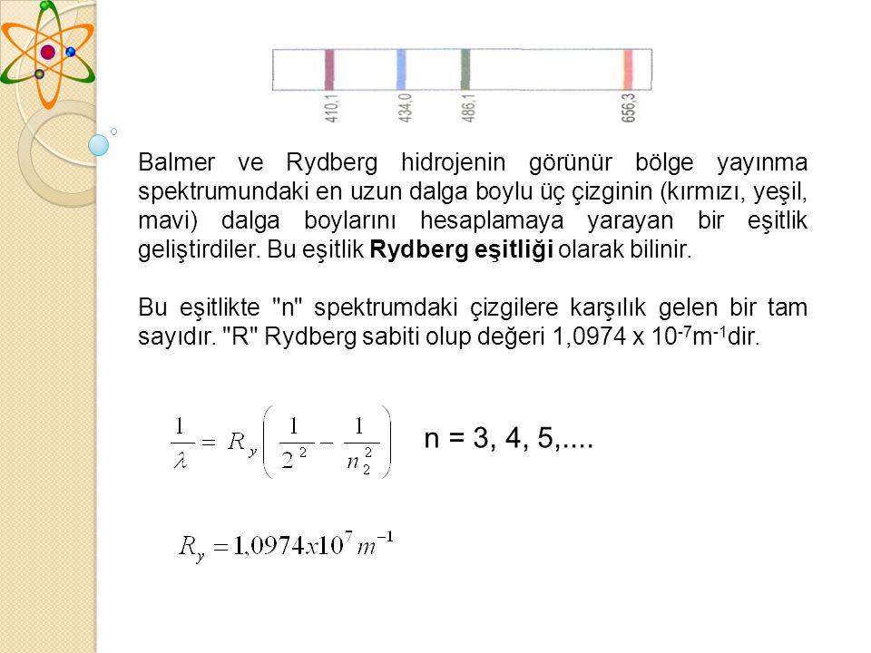 Balmer ve Rydberg hidrojenin görünür bölge yayınma spektrumundaki en uzun dalga boylu üç çizginin (kırmızı, yeşil, mavi) dalga boylarını hesaplamaya yarayan bir eşitlik geliştirdiler.