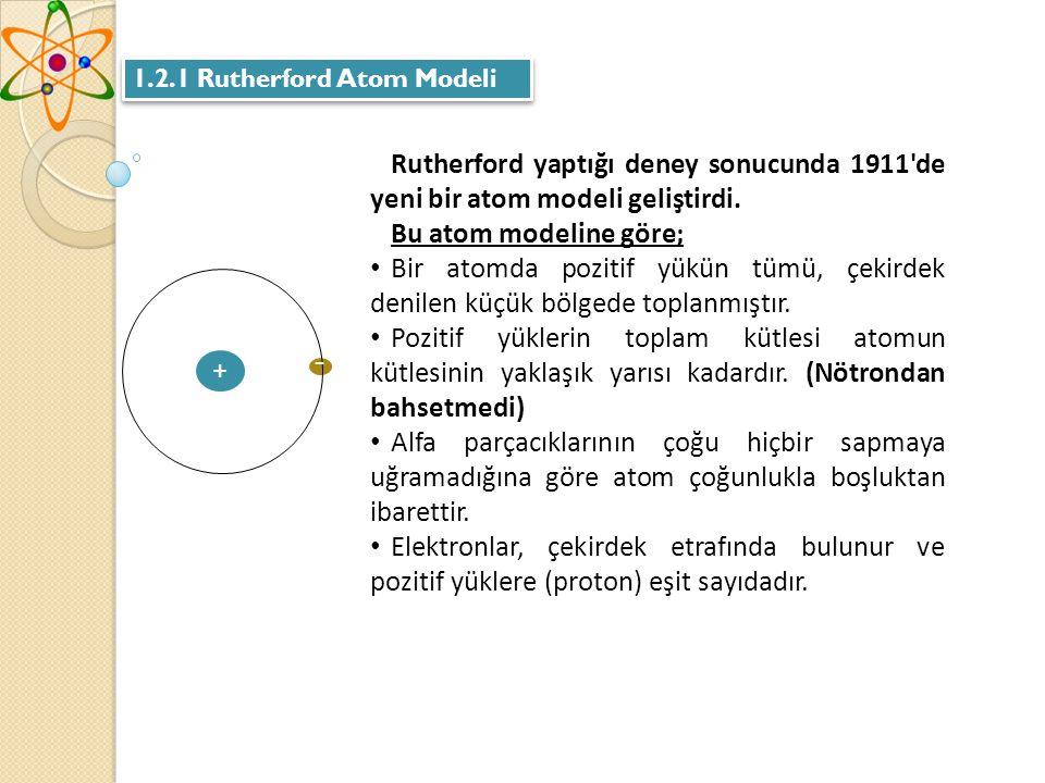 1.2.1 Rutherford Atom Modeli Rutherford yaptığı deney sonucunda 1911 de yeni bir atom modeli geliştirdi.