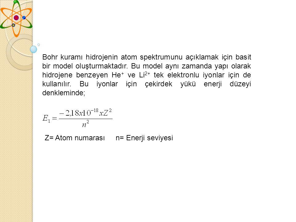 Bohr kuramı hidrojenin atom spektrumunu açıklamak için basit bir model oluşturmaktadır.