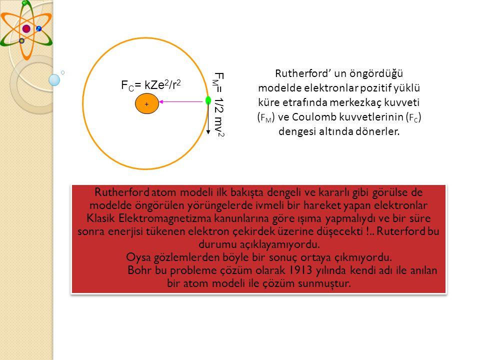 + F M = 1/2 mv 2 F C = kZe 2 /r 2 Rutherford' un öngördüğü modelde elektronlar pozitif yüklü küre etrafında merkezkaç kuvveti ( F M ) ve Coulomb kuvvetlerinin ( F C ) dengesi altında dönerler.