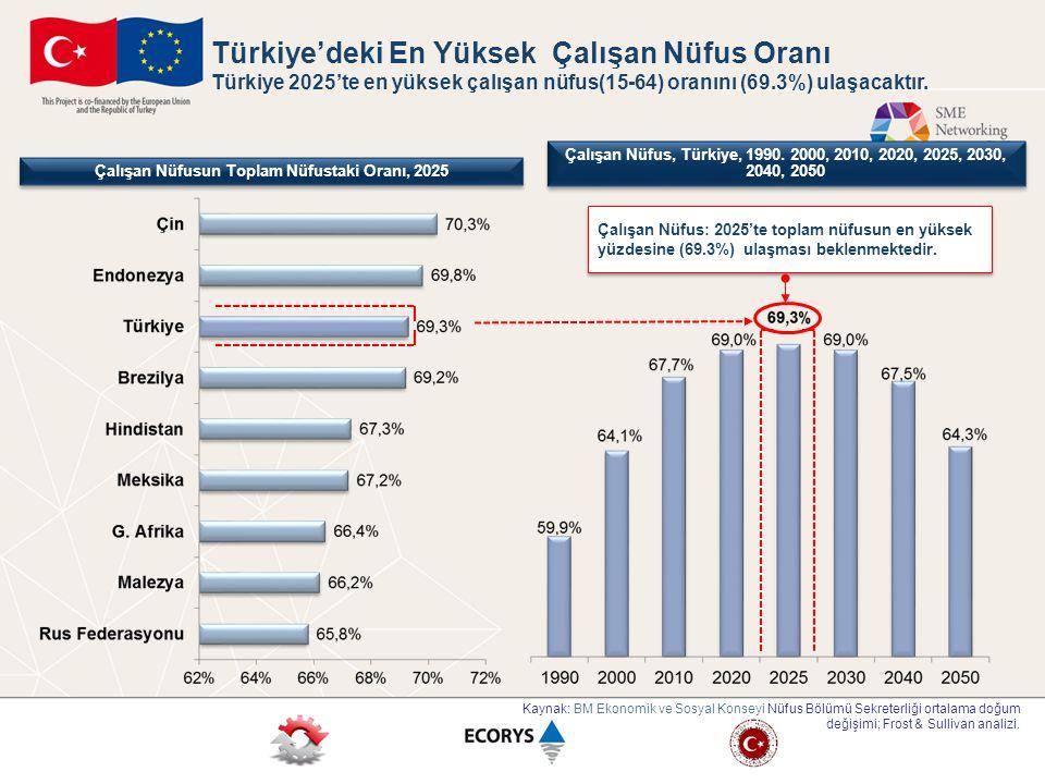 Çalışan Nüfusun Toplam Nüfustaki Oranı, 2025 Çalışan Nüfus, Türkiye, 1990. 2000, 2010, 2020, 2025, 2030, 2040, 2050 Kaynak: BM Ekonomik ve Sosyal Kons