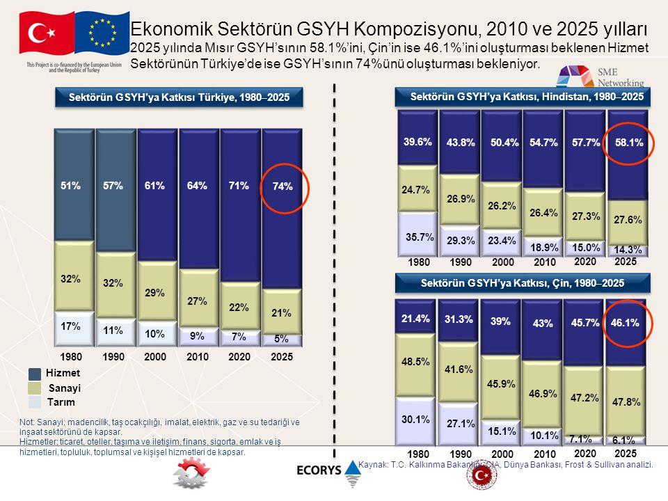 64%71%51%57%61% 27% 32% 29% 9% 7% 17% 11% 10% Sektörün GSYH'ya Katkısı Türkiye, 1980 – 2025 21.4% 31.3% 39% 18.9% 26.4% 54.7%57.7% 27.3% 15.0% 35.7% 2