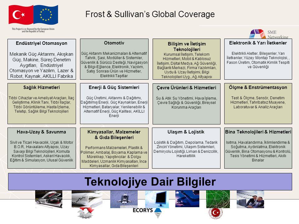Frost & Sullivan's Global Coverage Enerji & Güç Sistemleri Güç Üretimi, Aktarımı & Dağıtımı, Dağıtılmış Enerji, Güç Kaynakları, Enerji Hizmetleri, Bat