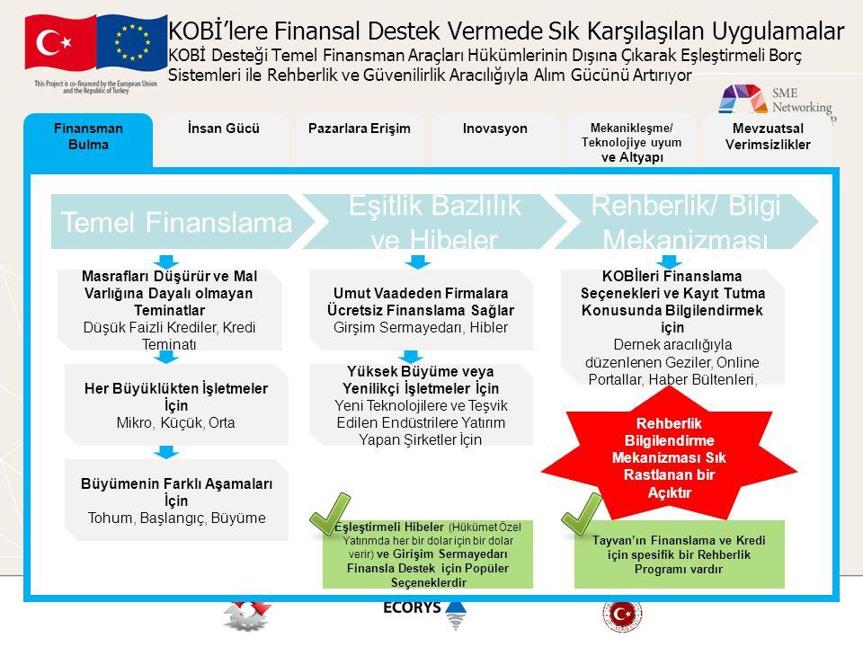 Finansman Bulma İnsan GücüPazarlara ErişimInovasyon Mekanikleşme/ Teknolojiye uyum ve Altyapı Mevzuatsal Verimsizlikler KOBİ'lere Finansal Destek Verm