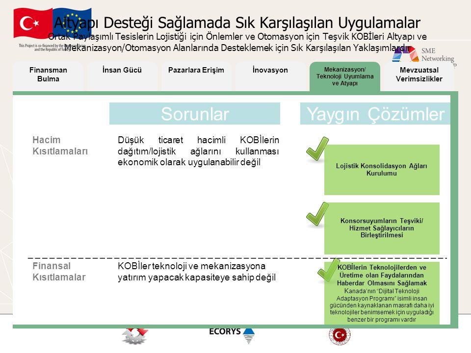 Mekanizasyon/ Teknoloji Uyumlama ve Atyapı Mevzuatsal Verimsizlikler Finansman Bulma İnsan GücüPazarlara Erişimİnovasyon Hacim Kısıtlamaları Düşük tic