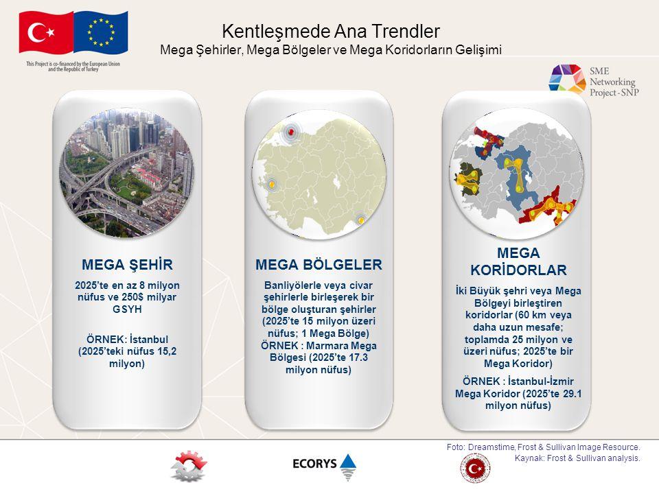 Kentleşmede Ana Trendler Mega Şehirler, Mega Bölgeler ve Mega Koridorların Gelişimi MEGA BÖLGELER Banliyölerle veya civar şehirlerle birleşerek bir bö