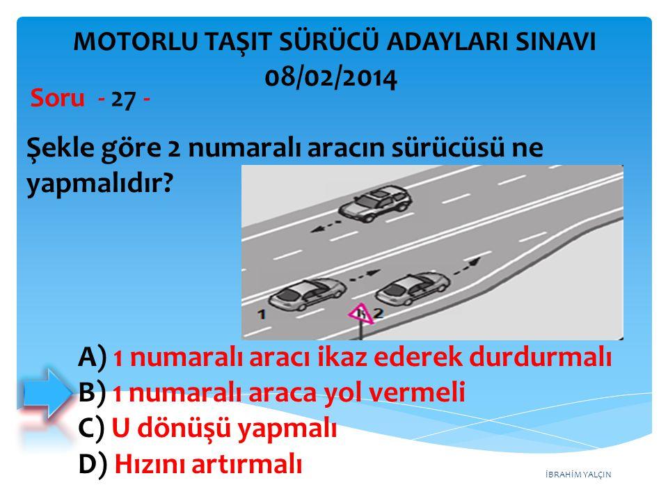 İBRAHİM YALÇIN Şekle göre 2 numaralı aracın sürücüsü ne yapmalıdır? Soru - 27 - A) 1 numaralı aracı ikaz ederek durdurmalı B) 1 numaralı araca yol ver