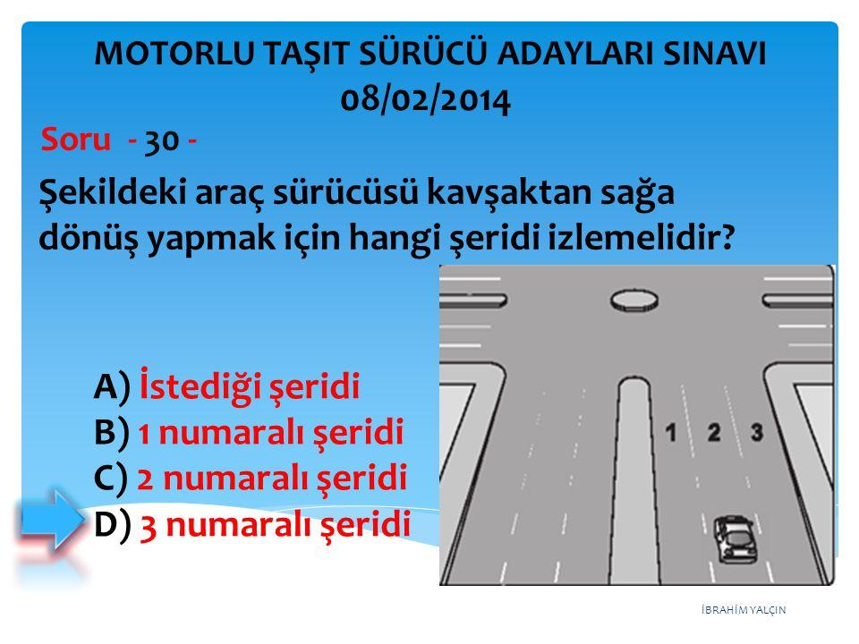 İBRAHİM YALÇIN Şekildeki araç sürücüsü kavşaktan sağa dönüş yapmak için hangi şeridi izlemelidir? Soru - 30 - A) İstediği şeridi B) 1 numaralı şeridi