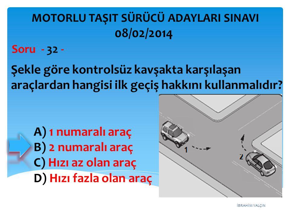 İBRAHİM YALÇIN Şekle göre kontrolsüz kavşakta karşılaşan araçlardan hangisi ilk geçiş hakkını kullanmalıdır? Soru - 32 - A) 1 numaralı araç B) 2 numar