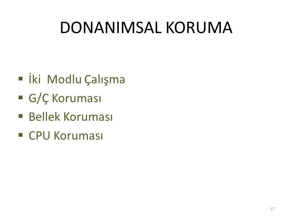 DONANIMSAL KORUMA  İki Modlu Çalışma  G/Ç Koruması  Bellek Koruması  CPU Koruması 17