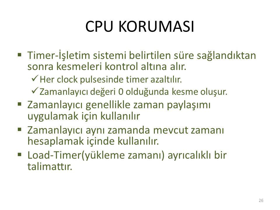 CPU KORUMASI  Timer-İşletim sistemi belirtilen süre sağlandıktan sonra kesmeleri kontrol altına alır. Her clock pulsesinde timer azaltılır. Zamanlayı