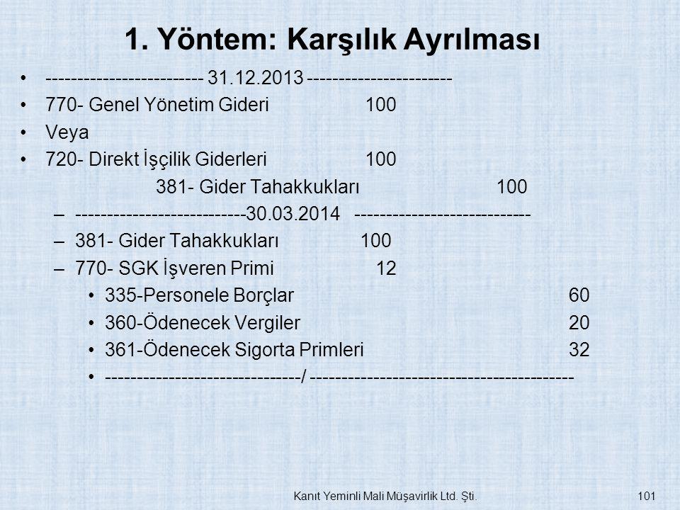 1. Yöntem: Karşılık Ayrılması ------------------------- 31.12.2013 ----------------------- 770- Genel Yönetim Gideri 100 Veya 720- Direkt İşçilik Gide