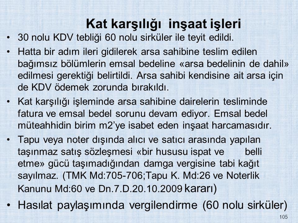 Kat karşılığı inşaat işleri 30 nolu KDV tebliği 60 nolu sirküler ile teyit edildi. Hatta bir adım ileri gidilerek arsa sahibine teslim edilen bağımsız