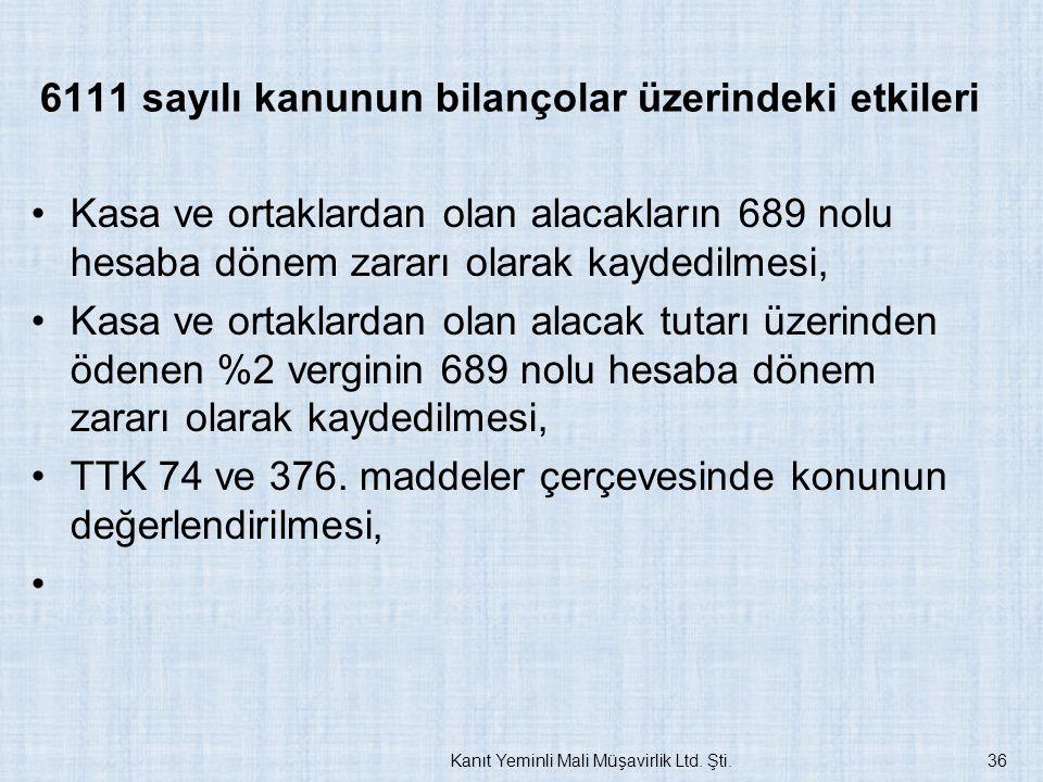 6111 sayılı kanunun bilançolar üzerindeki etkileri Kasa ve ortaklardan olan alacakların 689 nolu hesaba dönem zararı olarak kaydedilmesi, Kasa ve orta