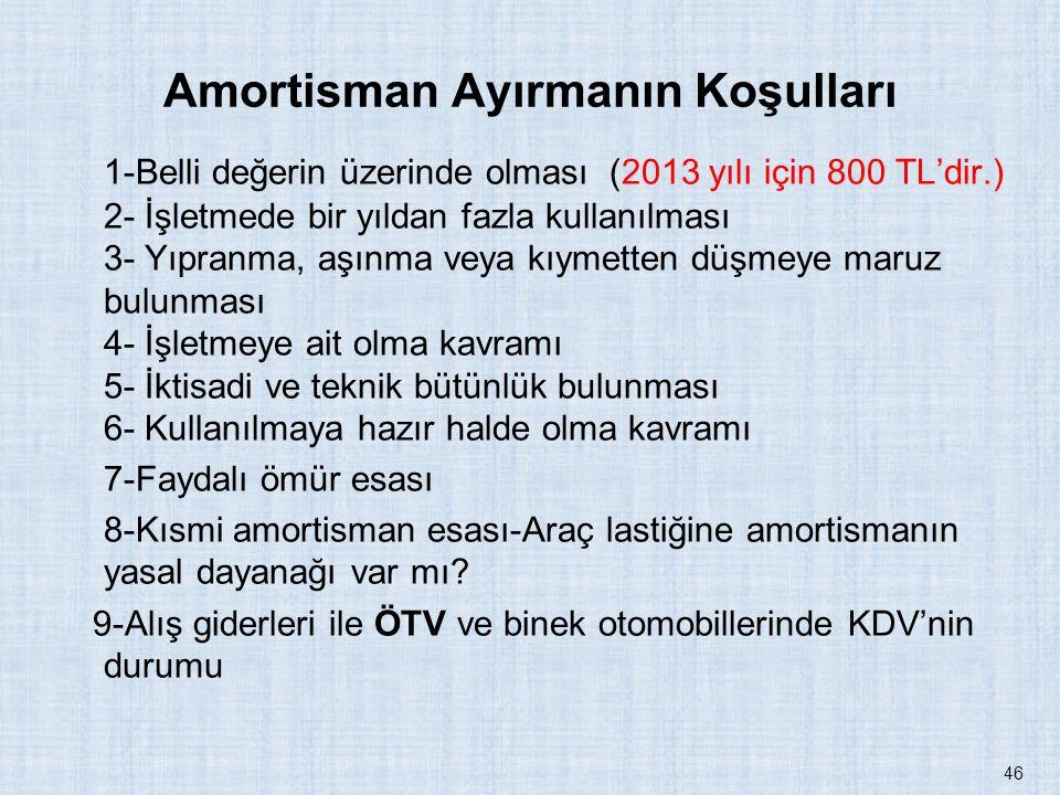 Amortisman Ayırmanın Koşulları 1-Belli değerin üzerinde olması (2013 yılı için 800 TL'dir.) 2- İşletmede bir yıldan fazla kullanılması 3- Yıpranma, aş