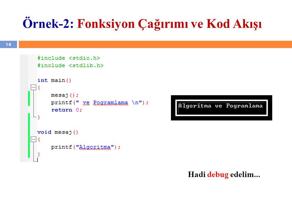 14 Örnek-2: Fonksiyon Çağırımı ve Kod Akışı Hadi debug edelim...