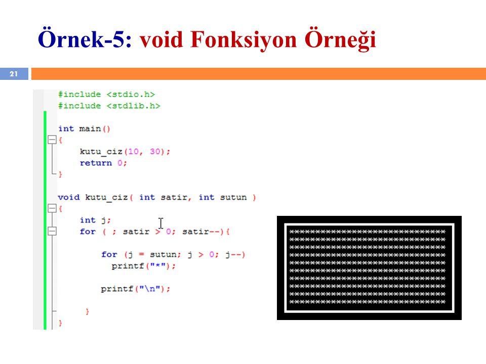 21 Örnek-5: void Fonksiyon Örneği
