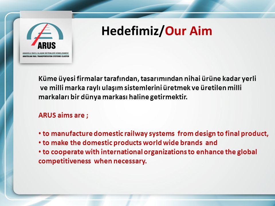 Hedefimiz/Our Aim Küme üyesi firmalar tarafından, tasarımından nihai ürüne kadar yerli ve milli marka raylı ulaşım sistemlerini üretmek ve üretilen milli markaları bir dünya markası haline getirmektir.