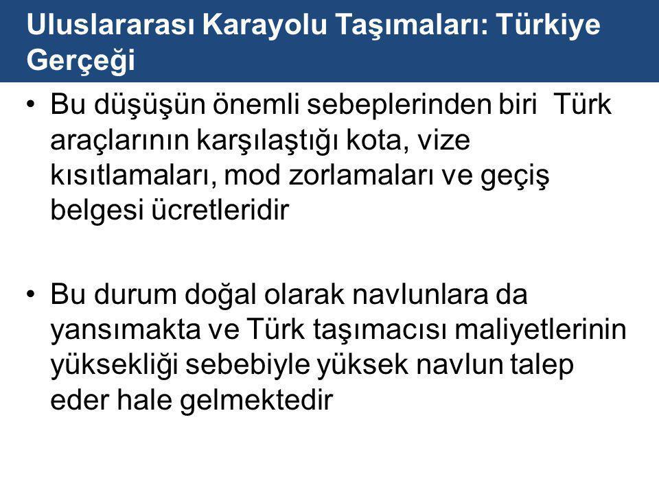 Uluslararası Karayolu Taşımaları: Türkiye Gerçeği Bu düşüşün önemli sebeplerinden biri Türk araçlarının karşılaştığı kota, vize kısıtlamaları, mod zorlamaları ve geçiş belgesi ücretleridir Bu durum doğal olarak navlunlara da yansımakta ve Türk taşımacısı maliyetlerinin yüksekliği sebebiyle yüksek navlun talep eder hale gelmektedir