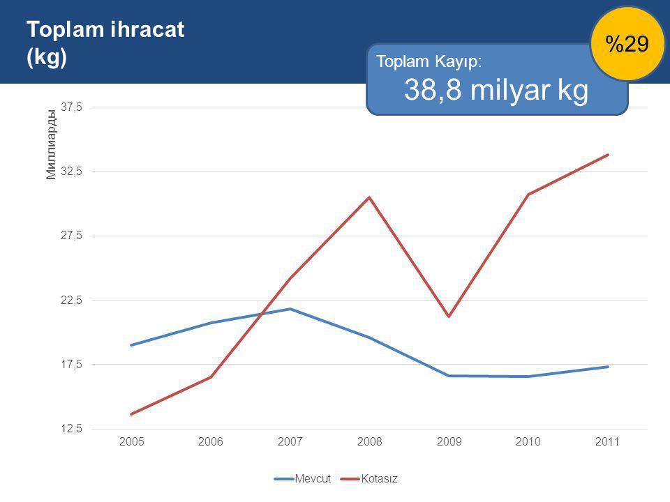 Toplam ihracat (kg) Toplam Kayıp: 38,8 milyar kg %29