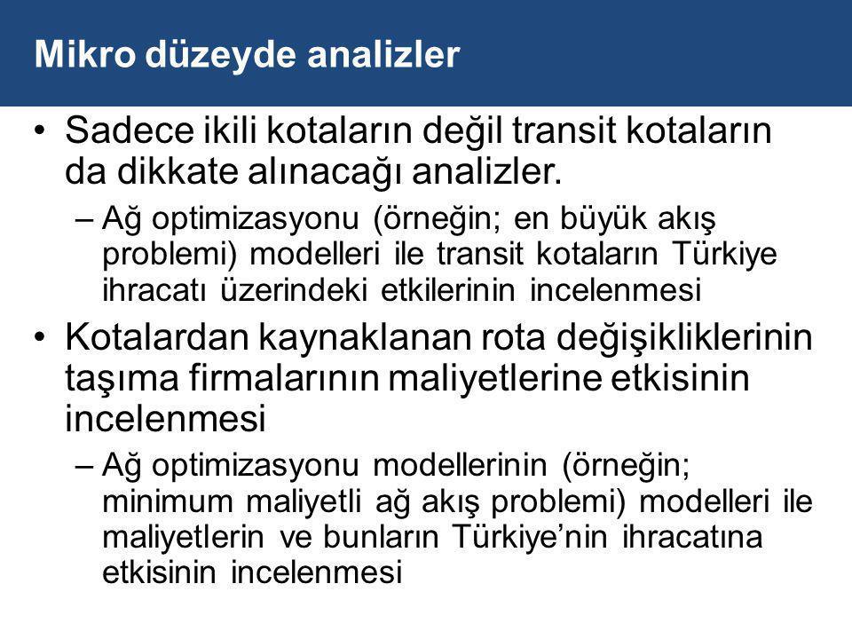 Mikro düzeyde analizler Sadece ikili kotaların değil transit kotaların da dikkate alınacağı analizler.
