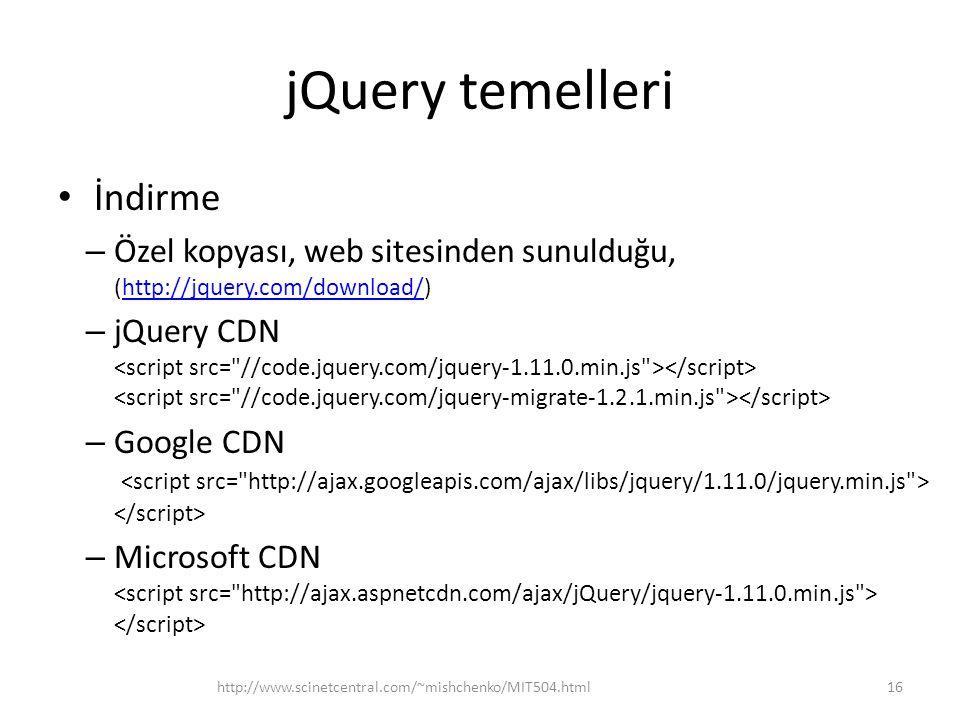 jQuery temelleri İndirme – Özel kopyası, web sitesinden sunulduğu, (http://jquery.com/download/)http://jquery.com/download/ – jQuery CDN – Google CDN – Microsoft CDN 16http://www.scinetcentral.com/~mishchenko/MIT504.html