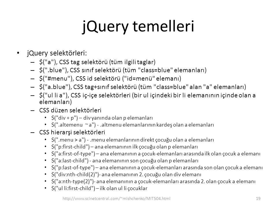 jQuery temelleri jQuery selektörleri: – $( a ), CSS tag selektörü (tüm ilgili taglar) – $( .blue ), CSS sınıf selektörü (tüm class=blue elemanları) – $( #menu ), CSS id selektörü ( id=menü elemanı) – $( a.blue ), CSS tag+sınıf selektörü (tüm class=blue alan a elemanları) – $( ul li a ), CSS iç-içe selektörleri (bir ul içindeki bir li elemanının içinde olan a elemanları) – CSS düzen selektörleri $( div + p ) – div yanında olan p elemanları $( .altemenu ~ a ) -.altmenu elemanlarının kardeş olan a elemanları – CSS hierarşi selektörleri $( .menu > a ) -.menu elemanlarının direkt çocuğu olan a elemanları $( p:first-child ) – ana elemanının ilk çocuğu olan p elemanları $( a:first-of-type ) – ana elemanının a çocuk-elemanları arasında ilk olan çocuk a elemanı $( a:last-child ) - ana elemanının son çocuğu olan p elemanları $( p:last-of-type ) – ana elemanının a çocuk-elemanları arasında son olan çocuk a elemanı $( div:nth-child(2) )- ana elemanının 2.