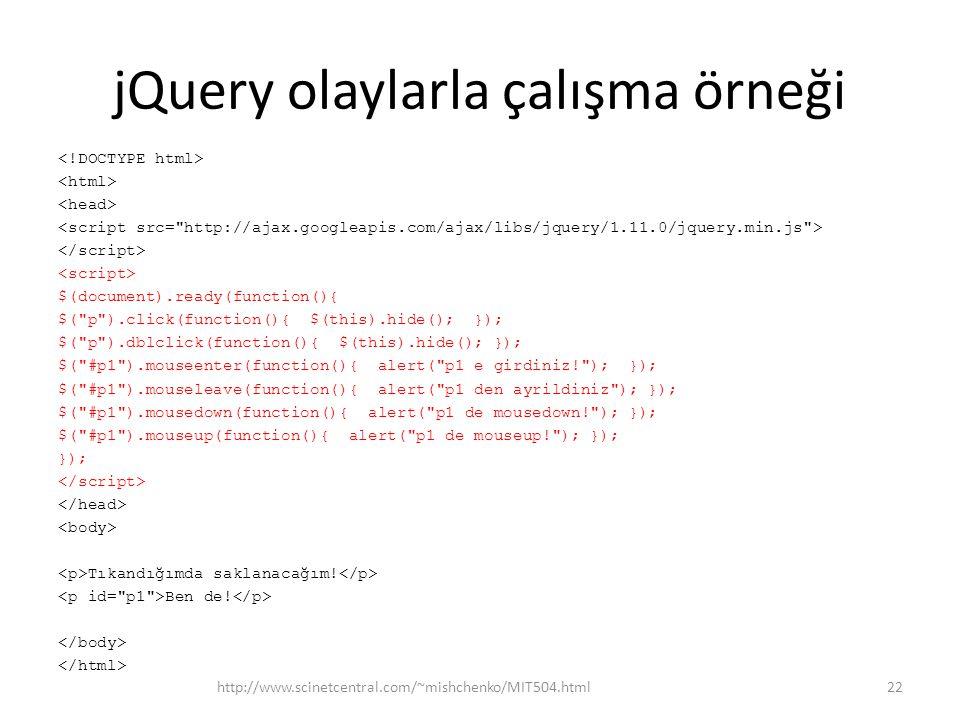 jQuery olaylarla çalışma örneği $(document).ready(function(){ $( p ).click(function(){ $(this).hide(); }); $( p ).dblclick(function(){ $(this).hide(); }); $( #p1 ).mouseenter(function(){ alert( p1 e girdiniz! ); }); $( #p1 ).mouseleave(function(){ alert( p1 den ayrildiniz ); }); $( #p1 ).mousedown(function(){ alert( p1 de mousedown! ); }); $( #p1 ).mouseup(function(){ alert( p1 de mouseup! ); }); }); Tıkandığımda saklanacağım.