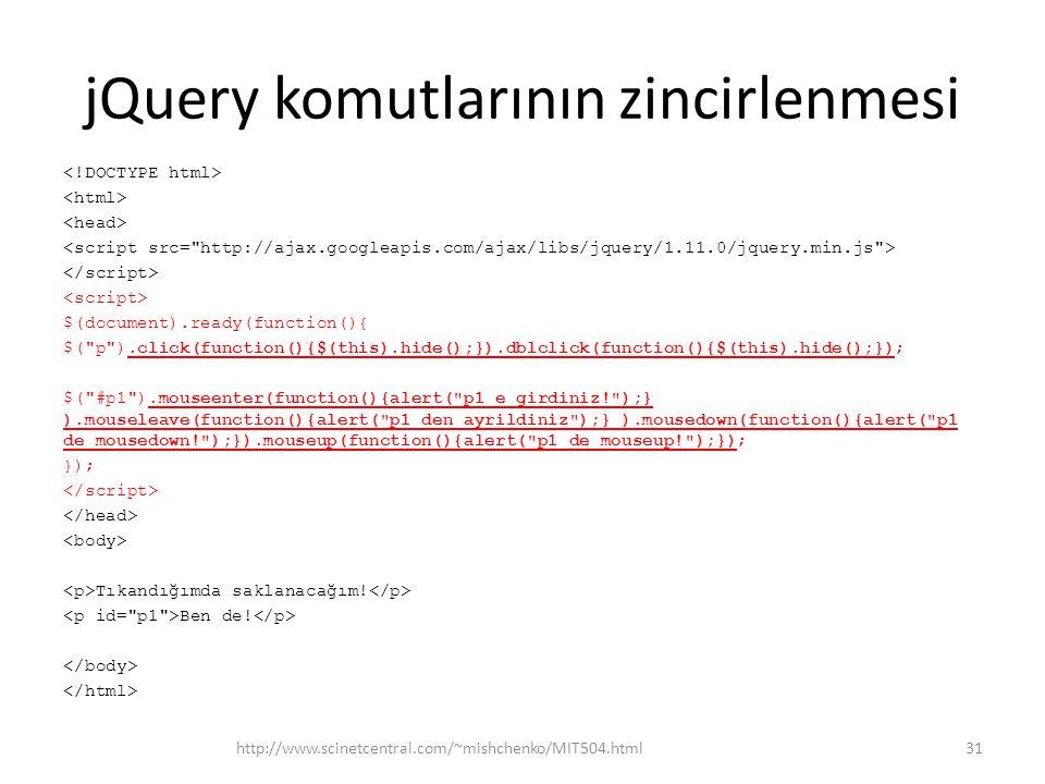 jQuery komutlarının zincirlenmesi $(document).ready(function(){ $( p ).click(function(){$(this).hide();}).dblclick(function(){$(this).hide();}); $( #p1 ).mouseenter(function(){alert( p1 e girdiniz! );} ).mouseleave(function(){alert( p1 den ayrildiniz );} ).mousedown(function(){alert( p1 de mousedown! );}).mouseup(function(){alert( p1 de mouseup! );}); }); Tıkandığımda saklanacağım.