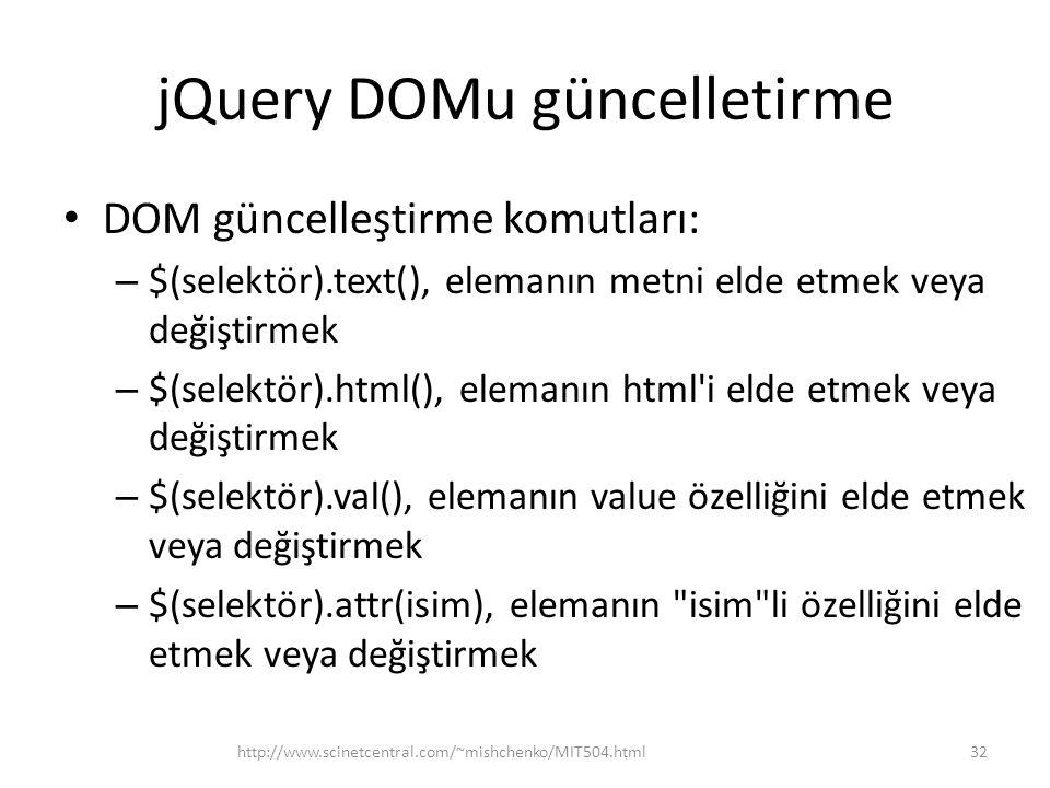 jQuery DOMu güncelletirme DOM güncelleştirme komutları: – $(selektör).text(), elemanın metni elde etmek veya değiştirmek – $(selektör).html(), elemanın html i elde etmek veya değiştirmek – $(selektör).val(), elemanın value özelliğini elde etmek veya değiştirmek – $(selektör).attr(isim), elemanın isim li özelliğini elde etmek veya değiştirmek 32http://www.scinetcentral.com/~mishchenko/MIT504.html