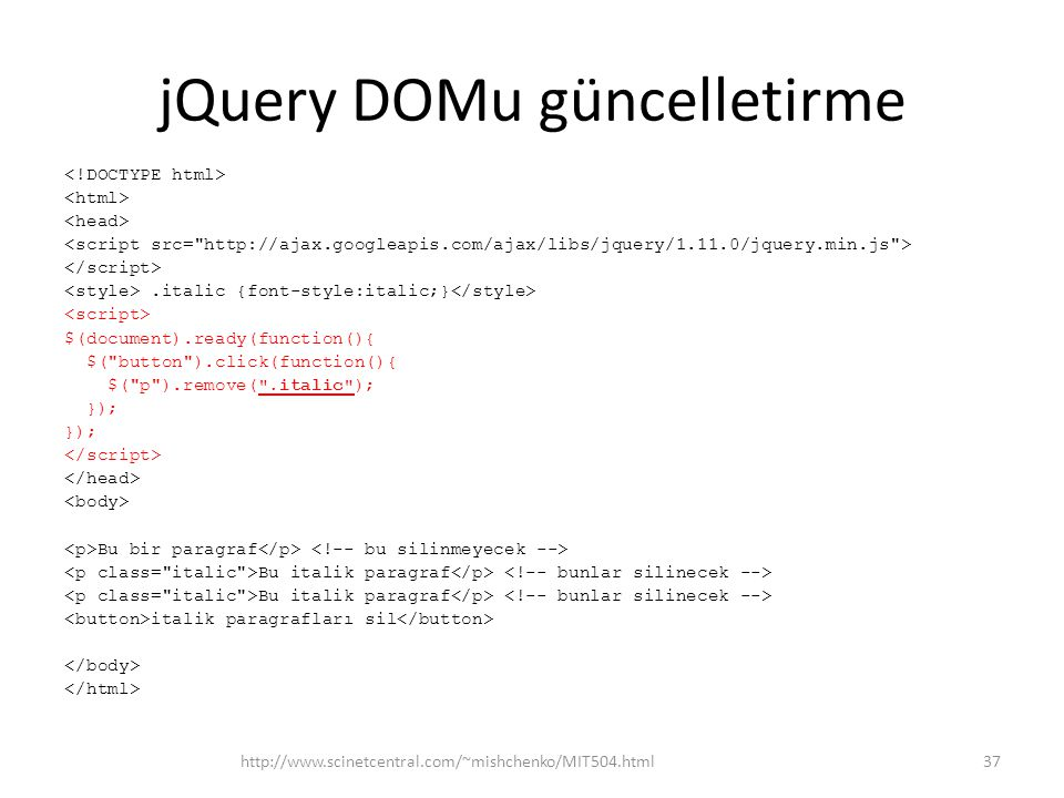 jQuery DOMu güncelletirme.italic {font-style:italic;} $(document).ready(function(){ $(