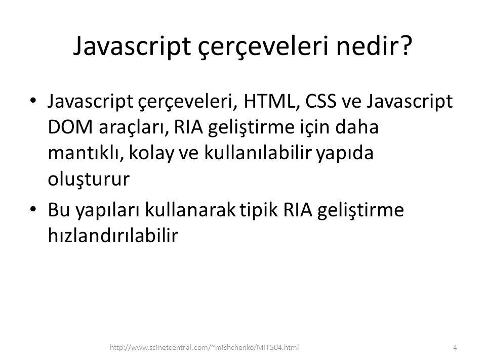 jQuery UI jQuery UI, jQuery nin standart kullanıcı arayüzü (User Interface, UI) kütüphanesi (http://jqueryui.com/ veya http://code.jquery.com/ui/)http://jqueryui.com/ http://code.jquery.com/ui/ Direkt olarak bağlanırsa, web sayfası içerisinden şu şekilde kullanılmalı, 65http://www.scinetcentral.com/~mishchenko/MIT504.html