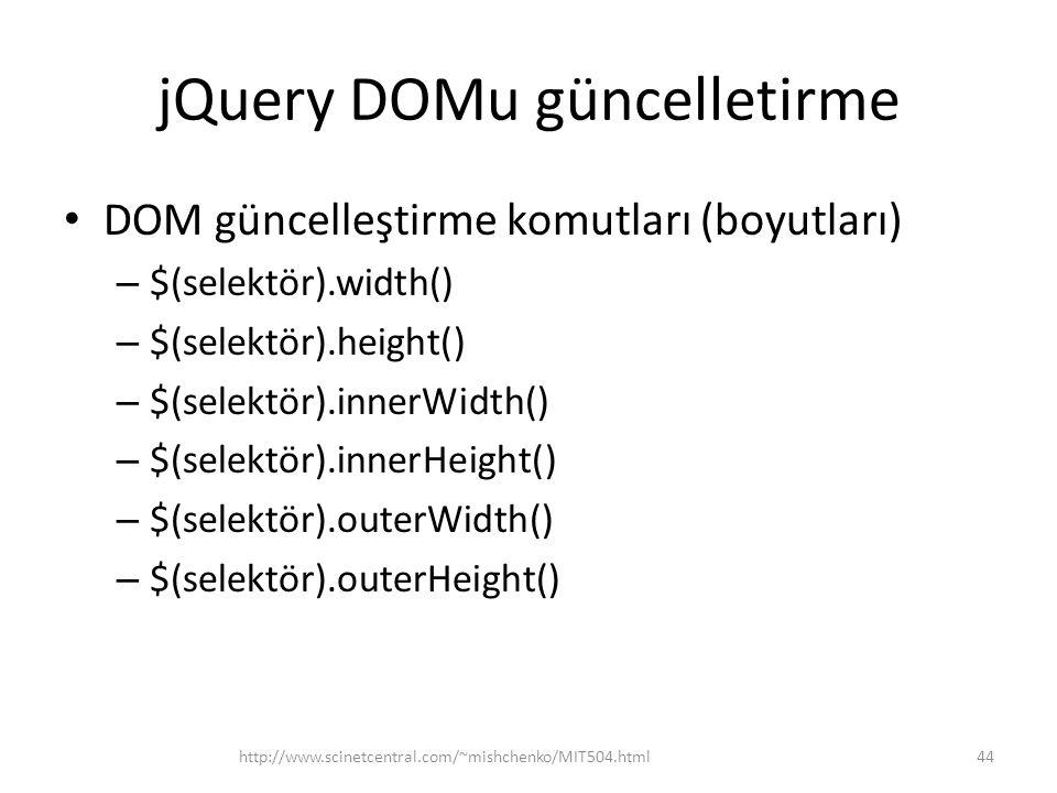 jQuery DOMu güncelletirme DOM güncelleştirme komutları (boyutları) – $(selektör).width() – $(selektör).height() – $(selektör).innerWidth() – $(selektör).innerHeight() – $(selektör).outerWidth() – $(selektör).outerHeight() 44http://www.scinetcentral.com/~mishchenko/MIT504.html