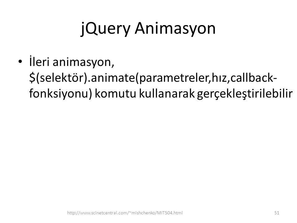 jQuery Animasyon İleri animasyon, $(selektör).animate(parametreler,hız,callback- fonksiyonu) komutu kullanarak gerçekleştirilebilir 51http://www.scinetcentral.com/~mishchenko/MIT504.html
