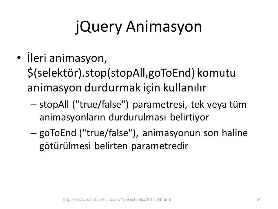 jQuery Animasyon İleri animasyon, $(selektör).stop(stopAll,goToEnd) komutu animasyon durdurmak için kullanılır – stopAll ( true/false ) parametresi, tek veya tüm animasyonların durdurulması belirtiyor – goToEnd ( true/false ), animasyonun son haline götürülmesi belirten parametredir 54http://www.scinetcentral.com/~mishchenko/MIT504.html