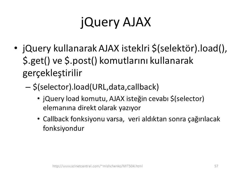 jQuery AJAX jQuery kullanarak AJAX isteklri $(selektör).load(), $.get() ve $.post() komutlarını kullanarak gerçekleştirilir – $(selector).load(URL,data,callback) jQuery load komutu, AJAX isteğin cevabı $(selector) elemanına direkt olarak yazıyor Callback fonksiyonu varsa, veri aldıktan sonra çağırılacak fonksiyondur 57http://www.scinetcentral.com/~mishchenko/MIT504.html