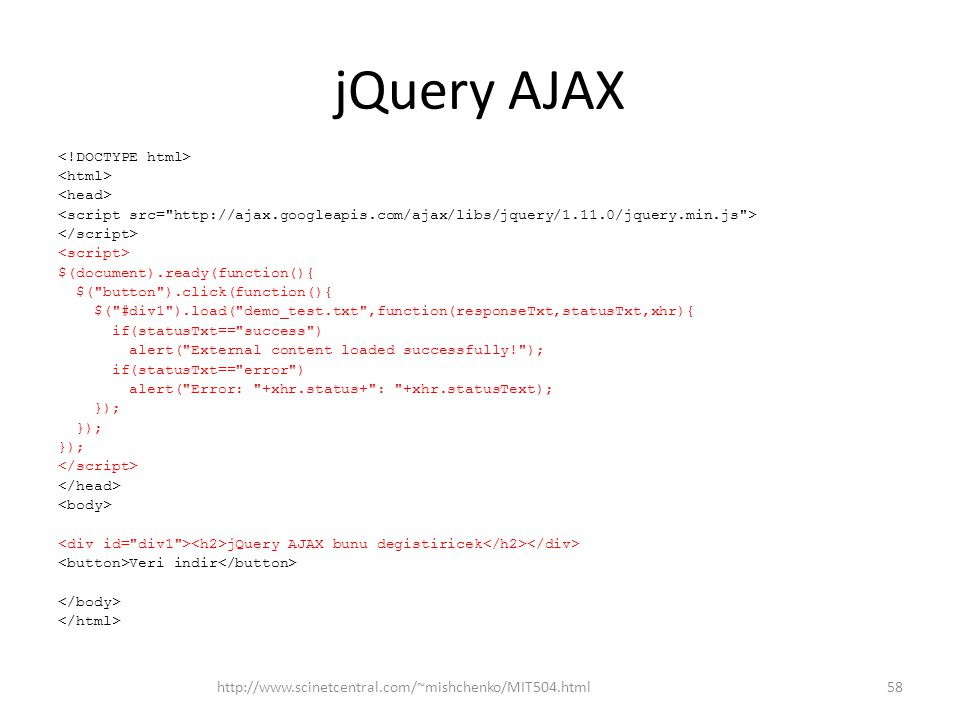 jQuery AJAX $(document).ready(function(){ $(