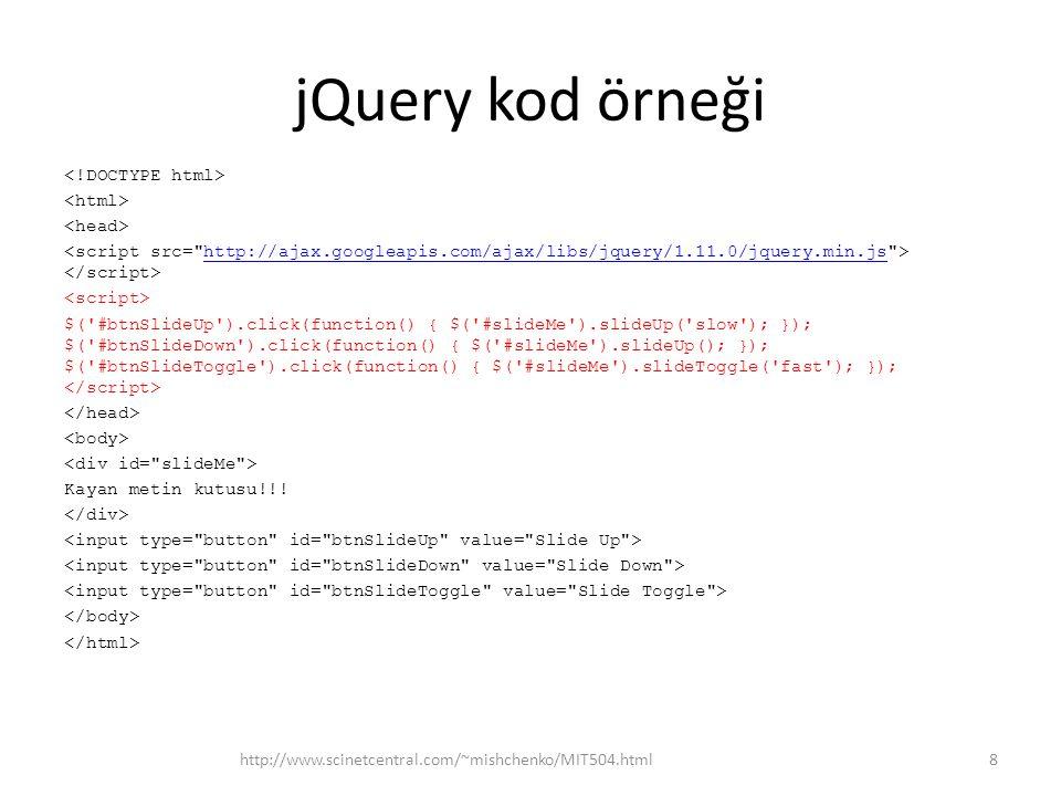 jQuery AJAX $(document).ready(function(){ $( button ).click(function(){ $( #div1 ).load( demo_test.txt );}); }); jQuery AJAX bunu degistiricek Veri indir http://www.scinetcentral.com/~mishchenko/MIT504.html59