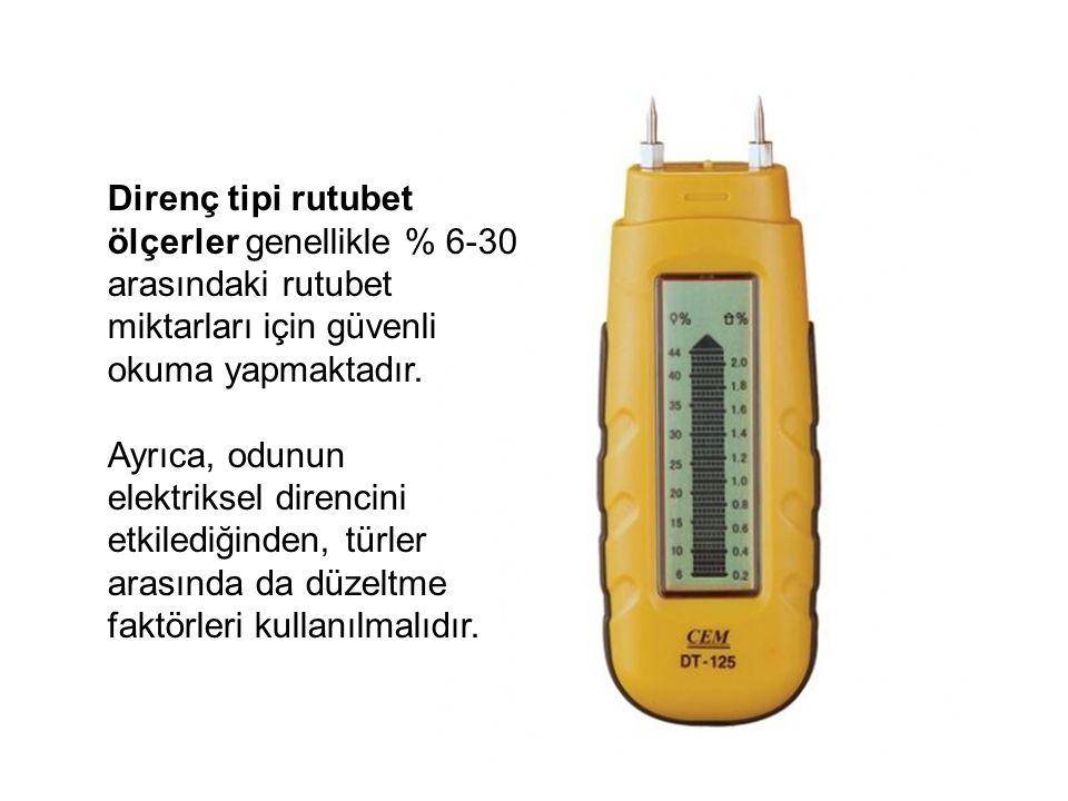 Direnç tipi rutubet ölçerler genellikle % 6-30 arasındaki rutubet miktarları için güvenli okuma yapmaktadır. Ayrıca, odunun elektriksel direncini etki