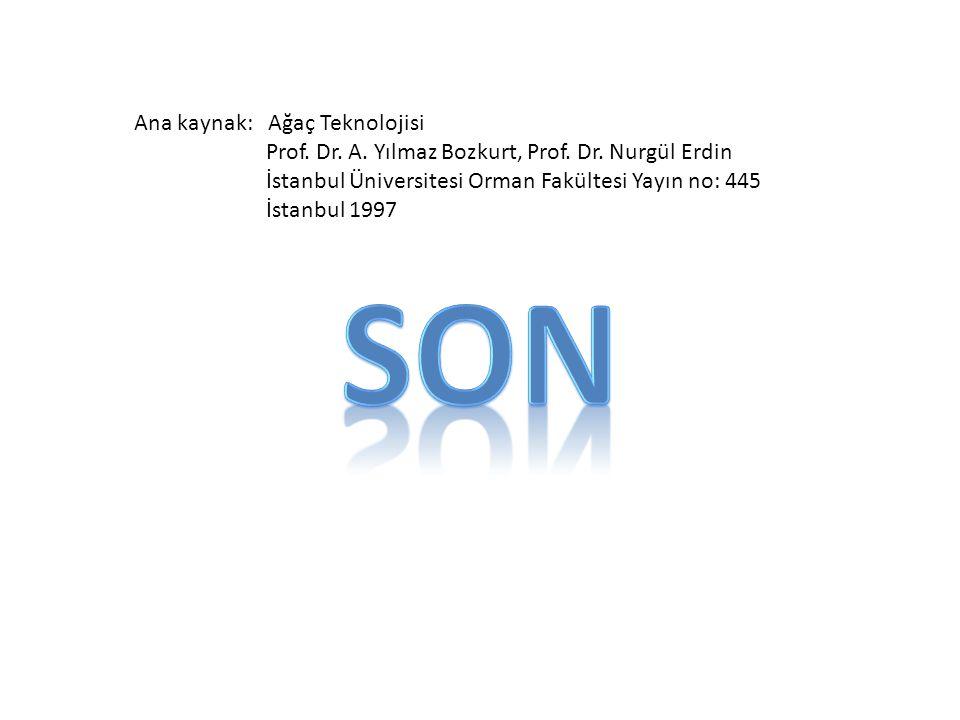 Ana kaynak: Ağaç Teknolojisi Prof. Dr. A. Yılmaz Bozkurt, Prof. Dr. Nurgül Erdin İstanbul Üniversitesi Orman Fakültesi Yayın no: 445 İstanbul 1997