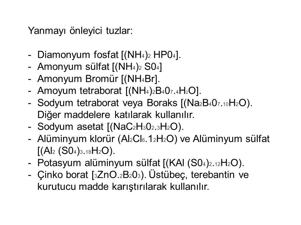 Yanmayı önleyici tuzlar: -Diamonyum fosfat [(NH 4 ) 2 HP0 4 ]. -Amonyum sülfat [(NH 4 ) 2 S0 4 ] -Amonyum Bromür [(NH 4 Br]. -Amoyum tetraborat [(NH 4